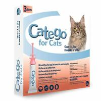 New 3 pack Catego Fast Acting Flea & Tick Treatment For Cats Kittens Over 1.5