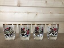 Vintage Shot Glasses Fox Hunting Themed x4