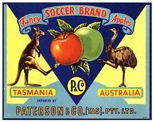 SOCCER BRAND, Kangaroo, Emu, Football, Australia *AN ORIGINAL APPLE FRUIT LABEL*