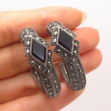 925 Sterling Silver Vintage Real Black Onyx & Marcasite Gemstone Hoop Earrings