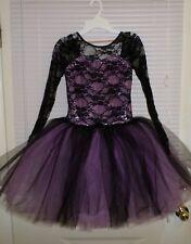 Weissman Ballet Tutu Costume Dress Black Lace with Metallic Lavender Sz Large Ch