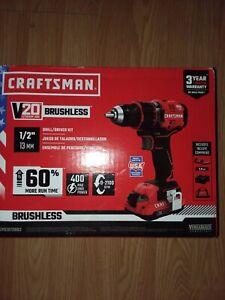 "CRAFTSMAN V20 Volt 1/2"" Cordless Brushless Drill w 2 Batteries-#CMCD72002"