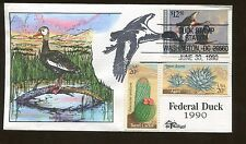 1990 Milford Hand Painted Black Bellied Whistling Federal Duck Stamp #RW57 FDC