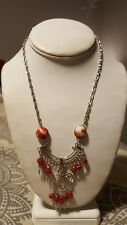 Red & White Beaded Necklace with Silver Wire, Beads and Dangles - Ethnic,...
