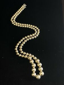 Vintage Graduated Sterling Silver Bead Beaded Chain Necklace