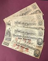 Obsolete Note, State of North Carolina, The Wilmington Waterfront $5.00 1863