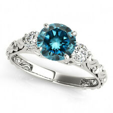0.74 Carat Blue SI2 Round Diamond Solitaire Engagement Wedding Bridal Ring 14k