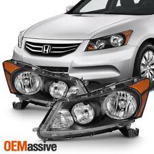 Fit 2008-2012 Honda Accord 4-Door Sedan Black Headlights L+R Lamp Replacement