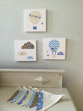 3 NURSERY CANVASES BUNTING BLUE CREAM BALLOONS CLOUDS baby boy girl neutral