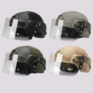 CS Tactical Helmet With Transparent Protective Face Shield Lightweight Windproof