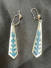 Vintage Sterling Silver Dangle Inlay Designed Earrings