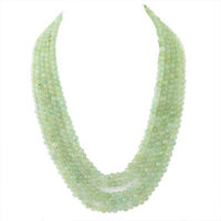 575.00 CTS NATURAL 5 LINE RICH GREEN AQUAMARINE ROUND BEADS NECKLACE - BIG DEAL