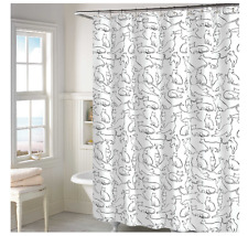 Whimsical Cats Shower Curtain Decor, Fun Bathroom Accessory, Fabric in White