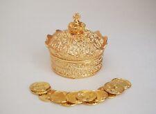 Elegant Gold Crown Wedding Arras with 13 coins set