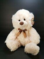 "Hug Fun Plush Teddy Bear Cream Color Stuffed Animal Toy 16"" New Brown Bow"
