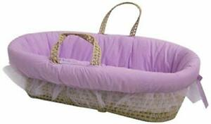 Baby Doll Bedding Fluffy Moses Basket Lilac