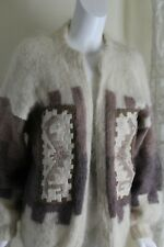 Icelandic or S.American LONGHAIR Mohair Fluffly OOAK Art Cardigan Sweater M L XL