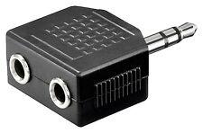 Audio Klinken Y Adapter Klinke Stecker 3,5mm auf 2x Klinkenbuchse stereo schwarz