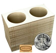 100  2.5 x 2.5 COIN HOLDER MYLAR FLIPS - CROWN & ASE  - HIGH QUALITY - #10,347