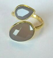 Grauer Calcedon Doppelring, 925 Silber vergoldet, Gr.56