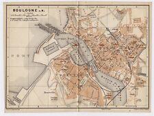1905 ANTIQUE CITY MAP OF BOULOGNE-SUR-MER / PAS-DE-CALAIS / FRANCE