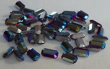 72 Vintage Glass Rhinestone Octagon Ruby AB TTC Cut Foiled Germany 8x4mm I6-5B