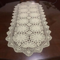 Ecru/Beige Vintage Hand Crochet Lace Doily Oval Table Runner/Scarf 19x59inch