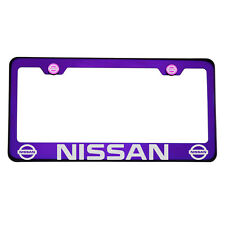 Laser Engraved Fit Nissan Blue Purple License Plate Frame T304 Stainless Steel