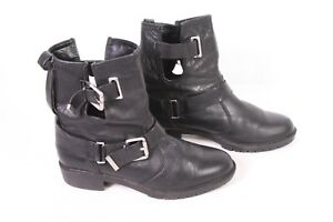 10D Zara Damen Stiefeletten Boots Leder schwarz Gr. 38 flacher Absatz Schnallen