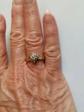 14k Yellow Gold Diamond Cluster Ring, Size 6.5