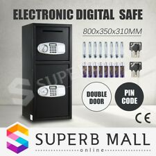 Electronic Safe Digital Double Door Security Cash Deposit Lock Box Home Office