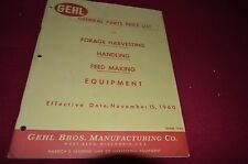 Gehl Genera Parts Price List 1960 Operator's Manual BVPA