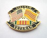 VIETNAM VETERAN WITH FLAGS Military Veteran Vietnam Hat Pin P14791 EE