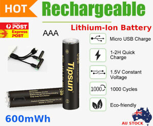 1-4 Rechargeable Tipsun Lithium Li-ion 600mWh 1.5V AAA Battery 1000 Cycles