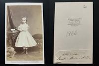 Ghémar, Bruxelles, Princesse Louise Marie Amélie, 1864 Vintage albumen print CDV