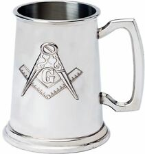 More details for tankard with embossed masonic symbol design 1pt great gift made from pewter