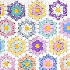 Purple Yellow Grandmas Garden Hexagon Floral Quilt Fabric Adz-13983-200 Vintage