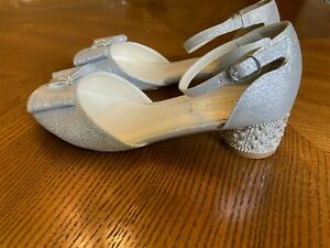 Monsoon GIRLS SHOES SIZE 2 SILVER BOW WEDDING occasion PROM PARTY GORGEOUS!