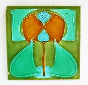"""Rare Original 6"""" x 6"""" Stylised Antique Arts & Crafts Art Nouveau CLEVELAND Tile"""