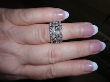 """Park Lane Jewelry, """"TRILOGY"""" Ring (Size-8) Crystals, Silvertone, New!!!"""