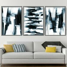 More details for 3 abstract black & navy art prints from original textured painting mix size v2