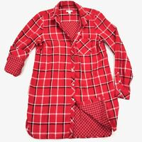 J.Jill Women's Flannel Shirt Dress Red Plaid Button Bandana • XS