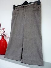 Ladies Lovely Next Taupe 3/4 Length Smart Linen Mix Trousers Size 12, Vgc