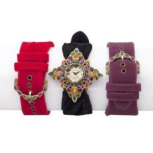 Heidi Daus Interchangeable Velvet Strap Watch (1 black,1 red,1 purple) VERSITILE