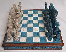 Vintage Mexican Chess Set Aztec Indians VS Spanish Conquistadors Stone/Wood