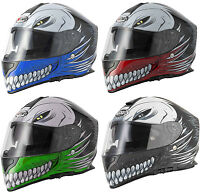 VCAN V127 HOLLOW SKULL DEMON MONSTER MOTORCYCLE  FULL FACE PINLOCK READY HELMET