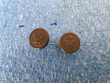 Original WW1 US Army Visor Hat Bronze Eagle Buttons - Set of 2