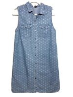 The Limited Chambray Polka Dotted Button Down Sleeveless Dress Size Medium M