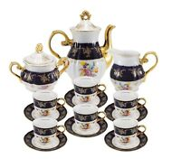 Euro Porcelain 17-pc Floral Tea Set for 6 Original Cobalt Tableware 24K Gold