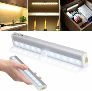Wireless Battery Powered PIR Motion Sensor Wall Wardrobe 10 LED Night Light Lamp